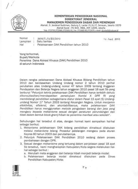 Surat Permintaan Barang Ditujukan Ke Direktur Rsu by Pelaksanaan Dak Bidang Pendidikan 2010 Wajib Dilelang