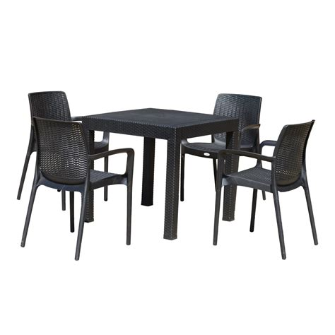 Outsunny 5 Piece All Weather Rattan Style Wicker Outdoor