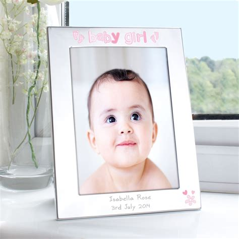 girl frame personalised silver 5x7 baby girl photo frame