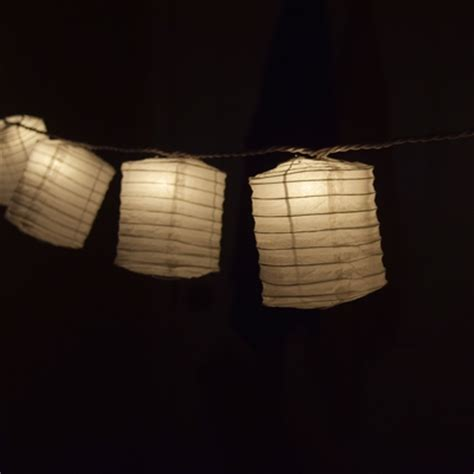 White Hako Box Shaped Paper Lantern String String Lights Japanese Lantern String Lights