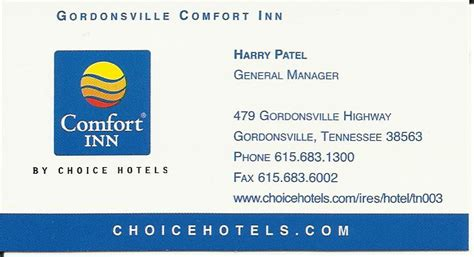 comfort inn card page title