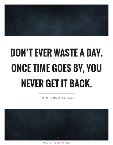 don t waste a day once time goes by you never get