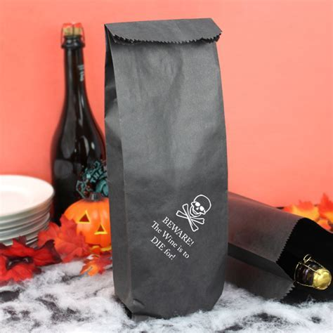 Halloween Wine Bottle Gift Bags   Personalized 5 x 16 Paper