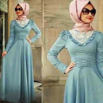 Gamis Azhari Syar I zania blue soft maxi pashmina busana muslim