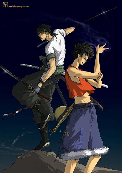 Raglan Anime Series Luffy 01 luffy and zorro by shiroho on deviantart