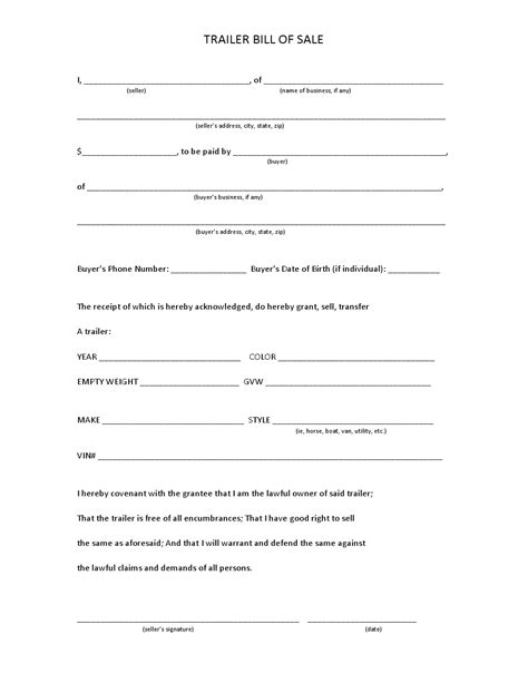 Free Bill Of Sale Forms Pdf Template Form Download Maryland Vehicle Bill Of Sale Template
