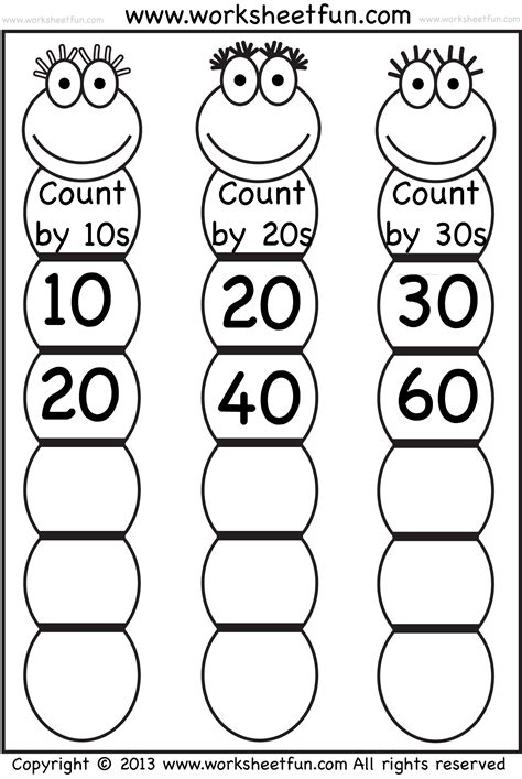 skip counting by 10 worksheets skip counting by 10 20 and 30 worksheet free