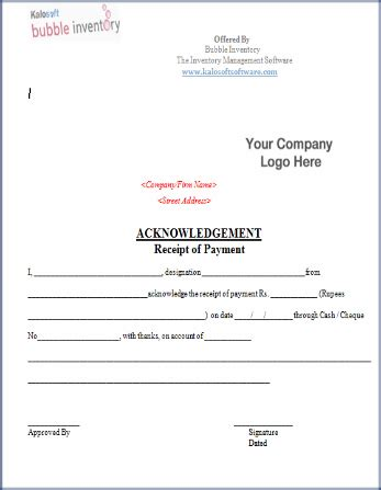 acknowledgement receipt template doc payment acknowledgment template format inventory