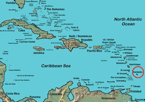 Barbados World Map by Where Is Barbados Located On The World Map