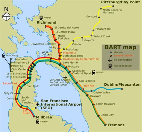 bart stations map bay area california wikitravel