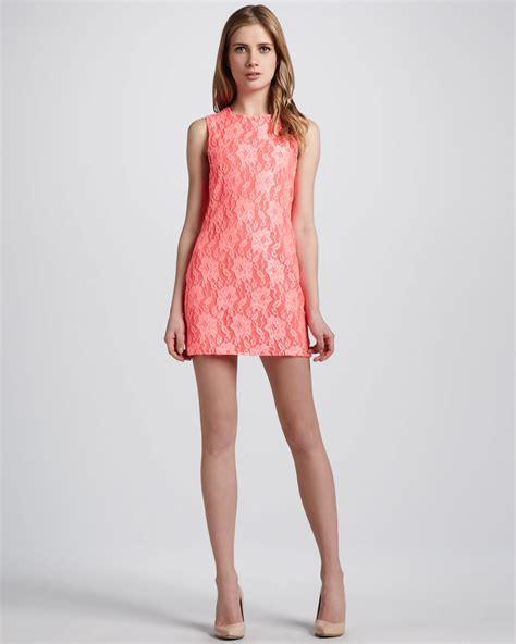 Dress Mini naven neon lace shift minidress in orange coral lyst