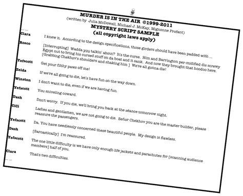 mystery script murder is in the air - Murder Mystery Dinner Scripts