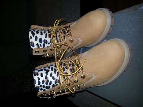 custom timberland boots with spikes and print
