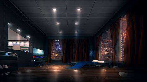 room apartment sci fi light window bed hd wallpaper