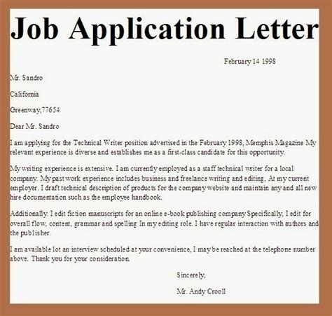 application letter sle any position simple application letter sle for any vacant position