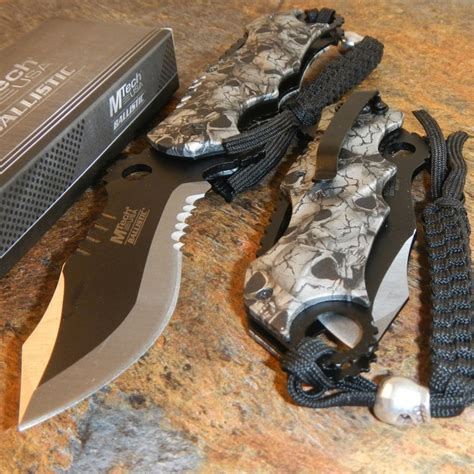 Mtech Box mtech ballistic bowie black grey skull camo assisted opening pocket knife ebay