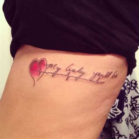 heartbeat tattoo on side unique red heart heartbeat tattoo quotes on side my