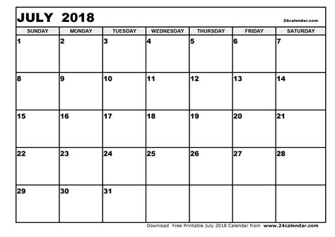 Blank 2018 Calendar Blank July 2018 Calendar In Printable Format