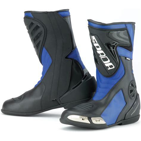 blue motorbike boots spada predator breathable waterproof leather motorcycle
