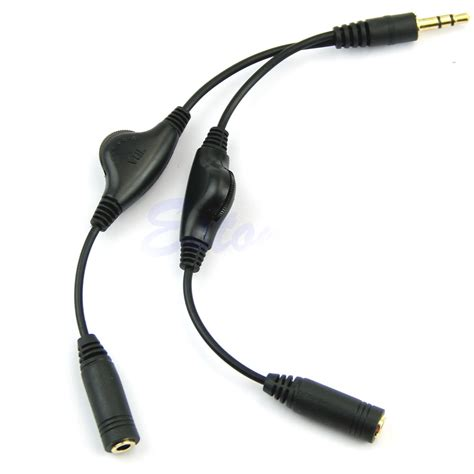 Kabel Speaker Headphone Audio Splitter 3 5mm No For Microphone Black 3 5mm headphone audio stereo y splitter cord cable with