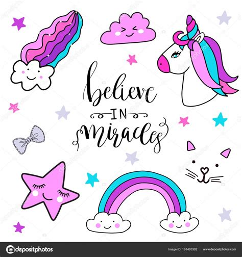 imagenes de gatos unicornios etiquetas conjunto con unicornio arco iris estrellas