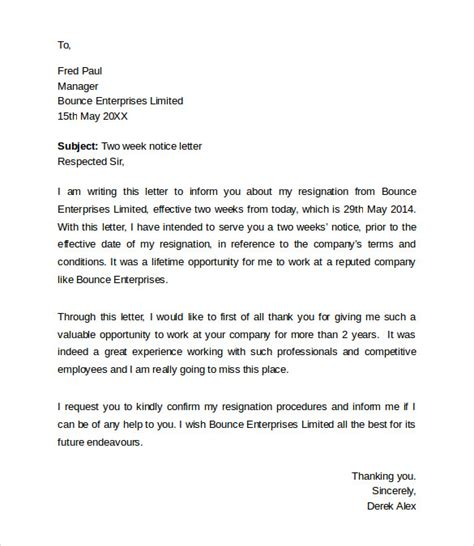 Employee Letter Of Resignation Sle Sle Resignation Letters 2 Week Notice 8 Free Documents In Pdf Word
