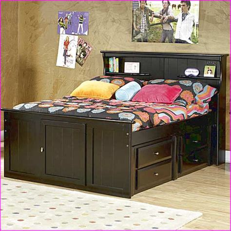 full size bed frame with bookcase headboard full size storage bed with bookcase headboard regarding
