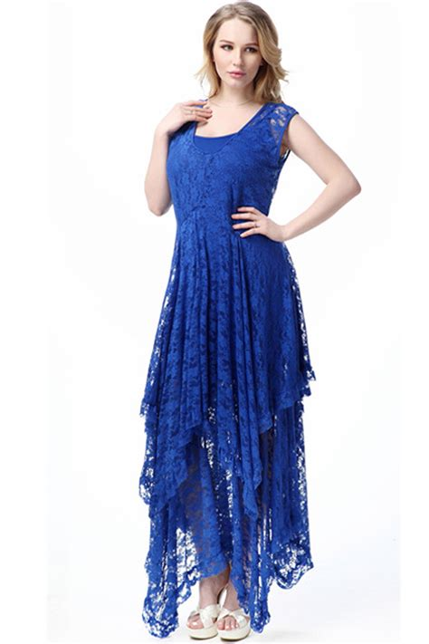 jhonpeter plus size sleeveless irregular skirt lace