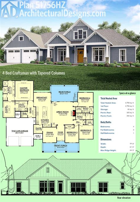 4 bedroom craftsman house plans plan 51756hz 4 bed craftsman with tapered columns home