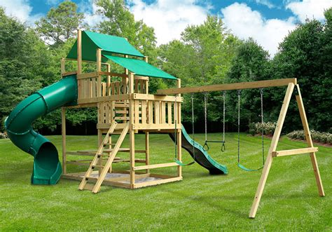 backyard swing set kits frontier fort with swing set diy kit swingsetmall com