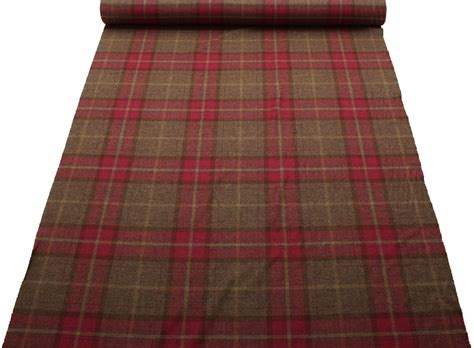 red tweed curtains 100 pure scotish upholstery wool woven tartan check plaid