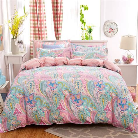 full bed sheets 4pcs bohemian bedding set soft polyester bed linen duvet