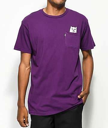 Kaos T Shirt Ripndip Lord Nermal Pocket Pink rip n dip clothing ripndip t shirts hats stickers zumiez