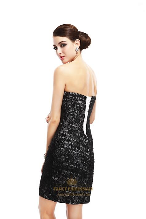 beaded cocktail dress black strapless lace sheath cocktail dress with