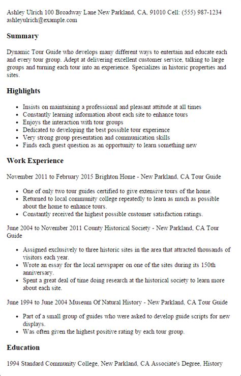free resume guide exles professional tour guide templates to showcase your talent myperfectresume