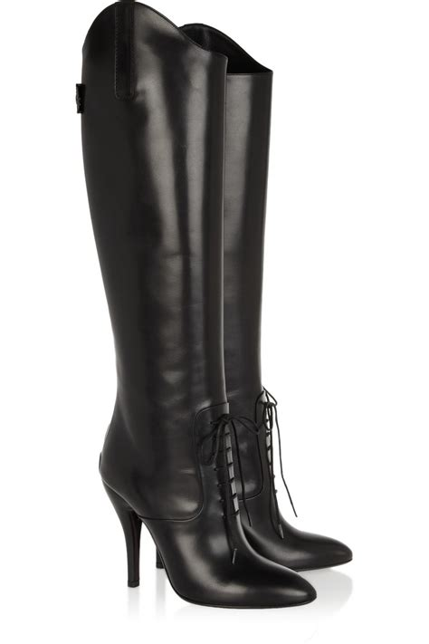 leather boots gucci leather knee boots in black lyst