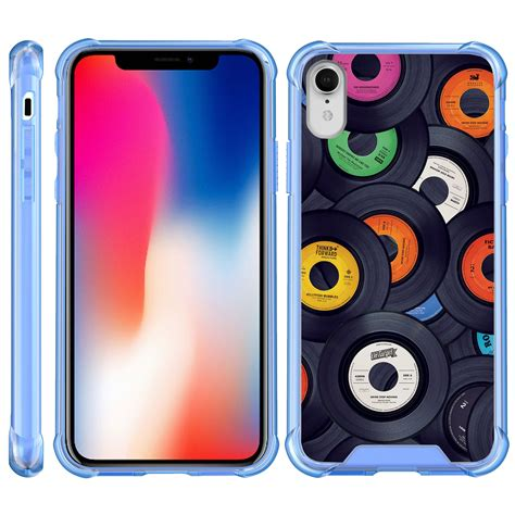 turtlearmor for apple iphone xr clear bumper fitted ultra slim tpu with blue