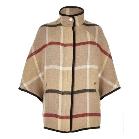 wool blend cape coat river island beige wool blend check cape coat in beige lyst