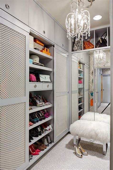 Grey Wardrobe Closet Gray Walk In Closet Features Shelves Designated For