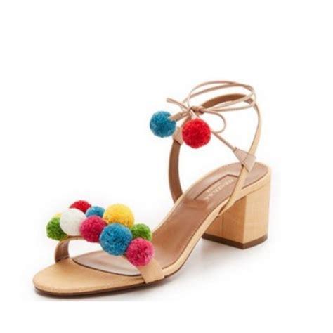 Sandal Wedges Oshin Flat Pompom Orin laundry posh beaded flat sandal rank style