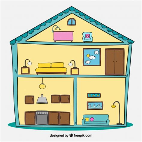 house with rooms hand drawn interior of house with rooms vector free download