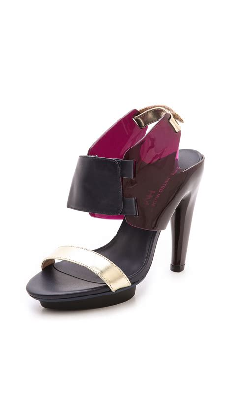 united shoes united eros curved heel sandals in blue merlot navy