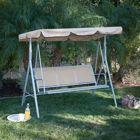 hammock bench swing 3 person patio swing adjustable canopy awning outdoor