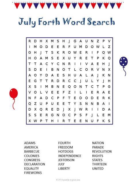 printable word search fourth of july fourth of july word search