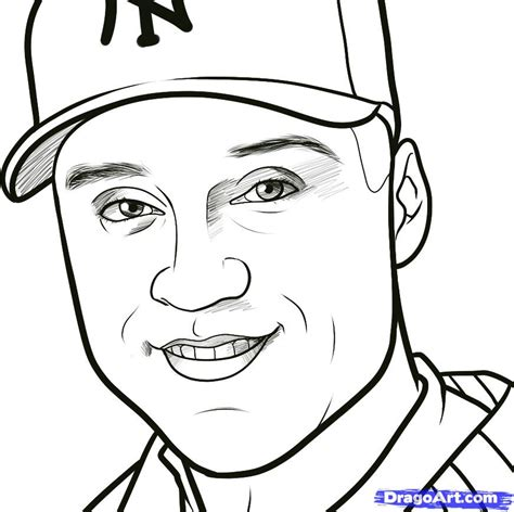 how to draw derek jeter derek jeter step by step sports