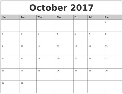 printable calendar for october 2017 october 2017 monthly calendar printable