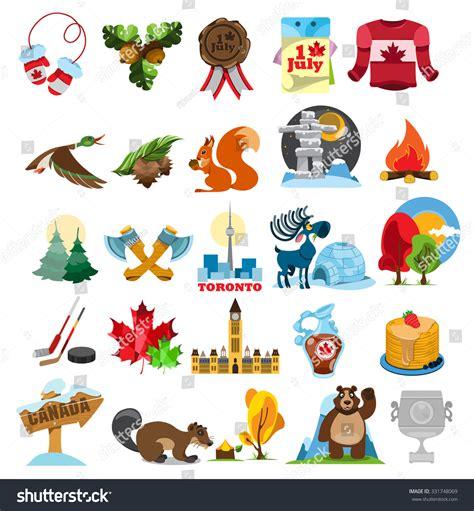 canadian map symbols canada icons canada symbols stock vector 331748069