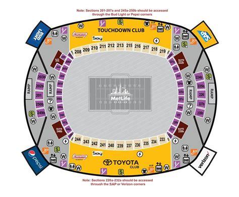 metlife stadium parking map metlife stadium seating chart and gates