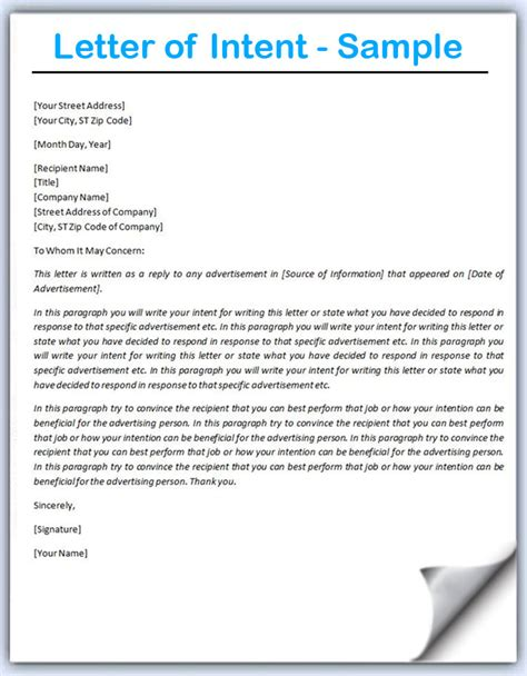 Business Letter Of Intent Examples Letter Of Intent Sample Writing Professional Letters
