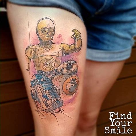 tattoo don t use lotion mulpix watercolor c 3po r2 d2 and bb 8 tattoo done by